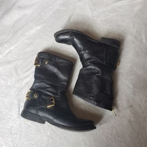 Steve Madden motto boot black leather size 6